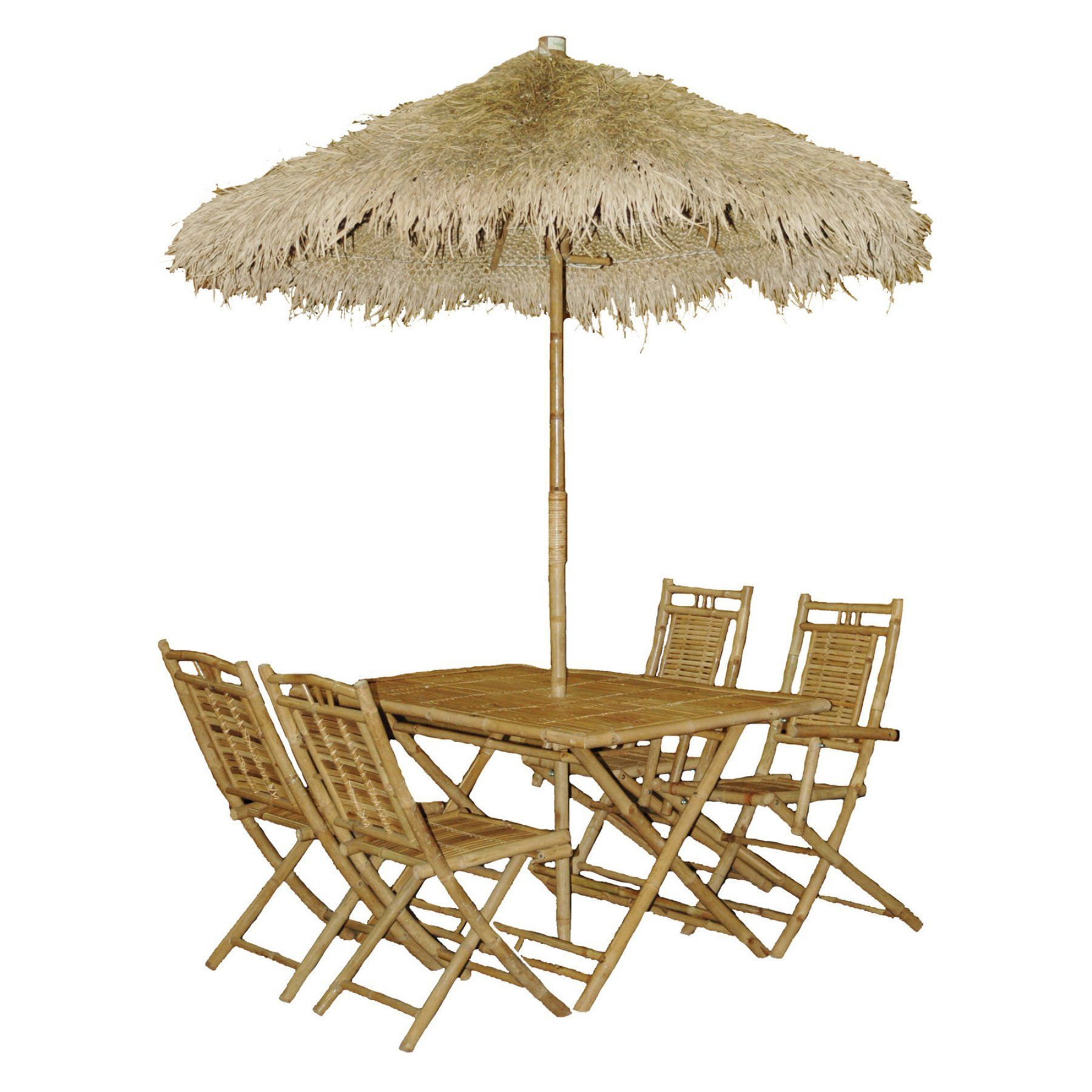Outdoor Bamboo Palapa Wood Piece Rectangular Patio Dining Set