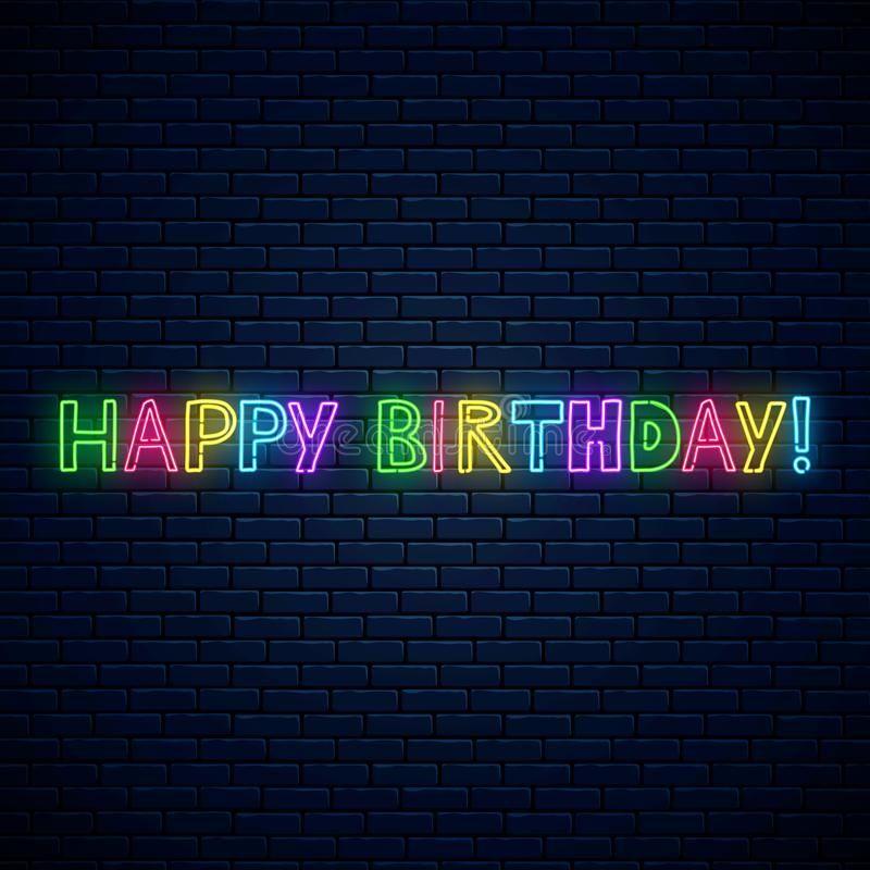 Happy birthday glowing neon cute text. Birthday