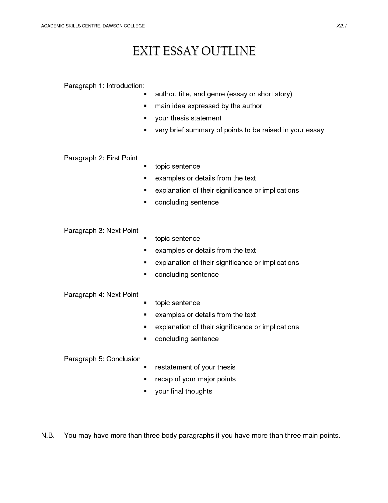 Research Paper Format Outline