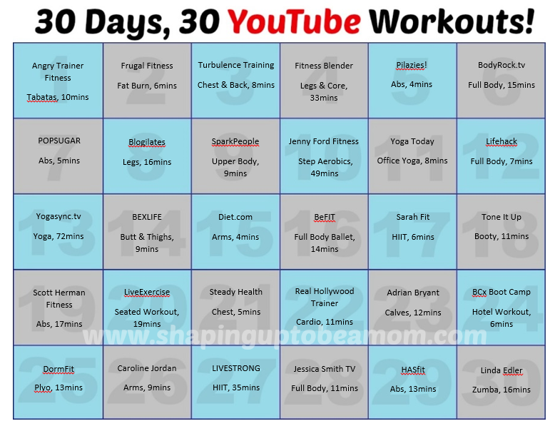 30 Days 30 Youtube Workouts Shaping Up To Be A Mom Youtube Workout Workout Videos Workout Videos Free