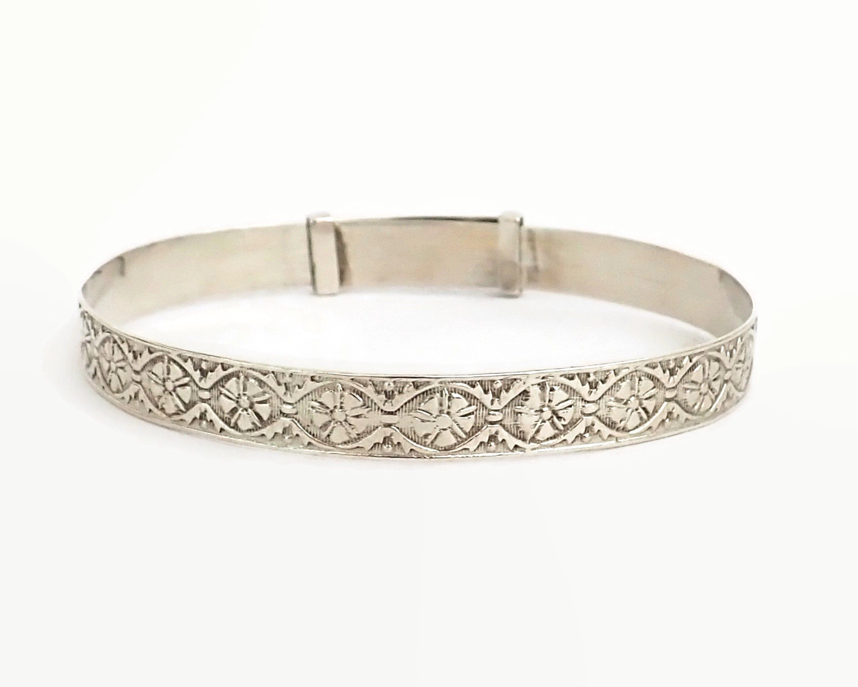 7.5 Vintage 7mm Engraveable Sterling Silver Bar /& Curb Chain Bracelet