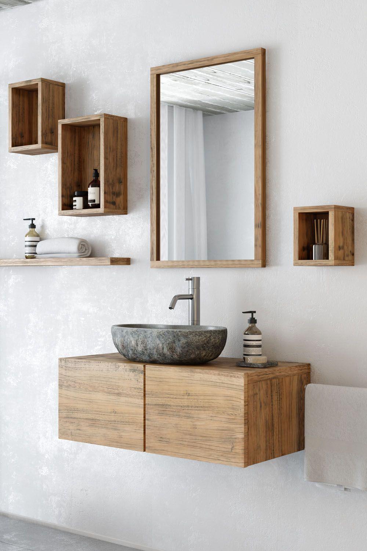 Waschtischunterschrank Finn Aus Kautschuk Holz Hangend 80 Cm