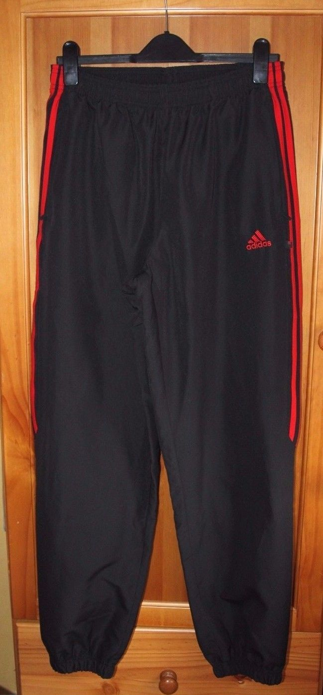 e8369351a03d Adidas Black And Red Climalite Tracksuit Bottoms Joggers Mens UK Size XL   84B2