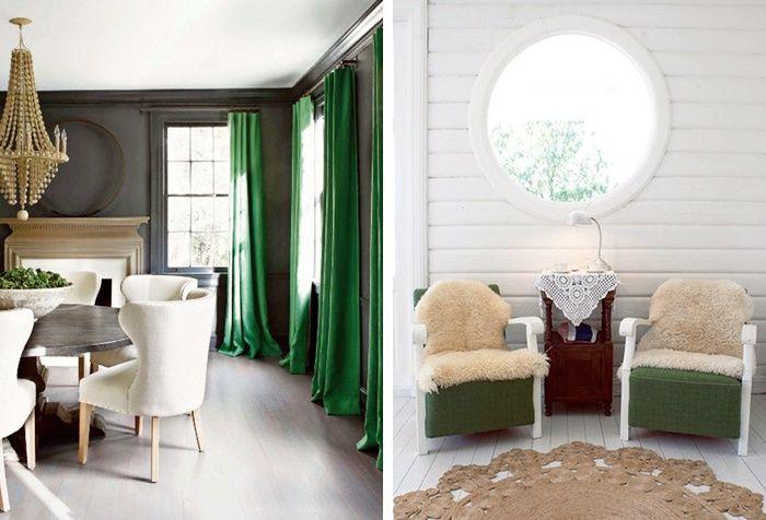 Green Velvet Curtains Living Room   Google Search