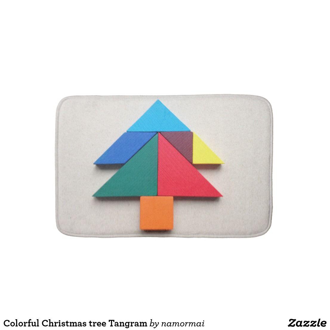 Christmas Tree Tangram: Colorful Christmas Tree Tangram Bathroom Mat
