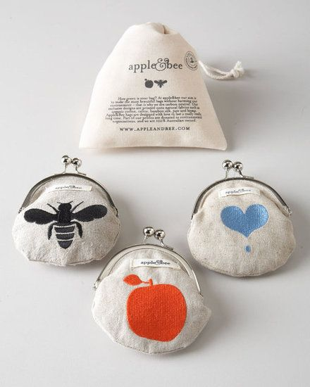 Apple & Bee Hemp Coin Purses  The perfect place to store her tiny treasures, Apple & Bee's coin purses ($22) come embroidered with a blue heart, a black bee, or (our favorite) a bright red apple. The hemp purses are lined in bamboo silk.