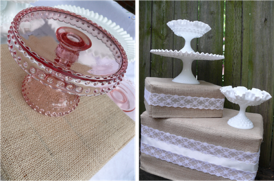 Trim crates with burlap and lace.