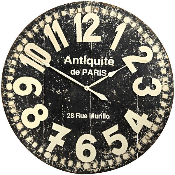 Pier 1 Imports Grandiose Wall Clock Black 160 Found On Polyvore Distressed Wall Clock Wall Clock Oversized Wall Clock