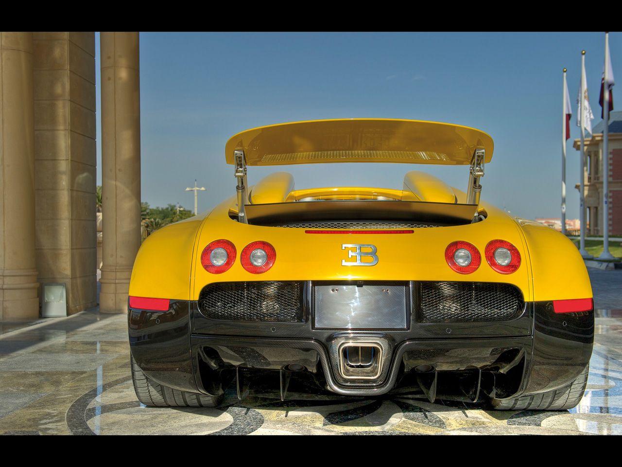 2012 Bugatti Veyron Grand Sport Black Yellow At Qatar Rear
