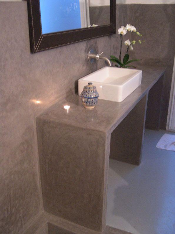 recouvrir absolument le meuble lavabo avec du tadelakt ...