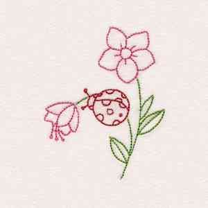 Ladybug And Flowers Design 23 - A ~ Ibroidery Designs