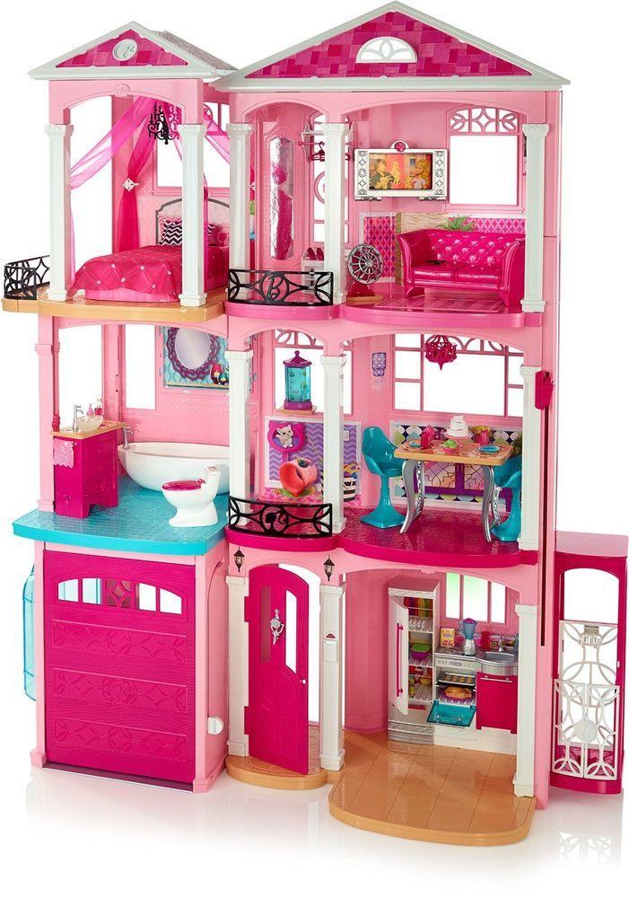 pink dolls house furniture. barbie dream house town 3 floors mattel girls rooms pink fun play story cjr47 dolls furniture