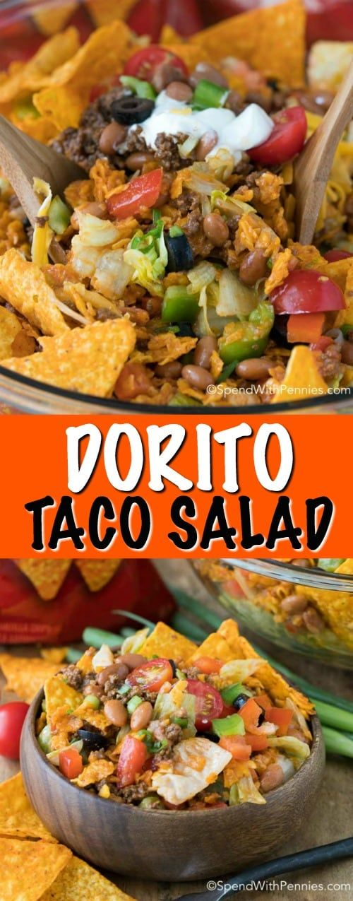Dorito Taco Salad - Spend With Pennies #dorritocasserolehamburger