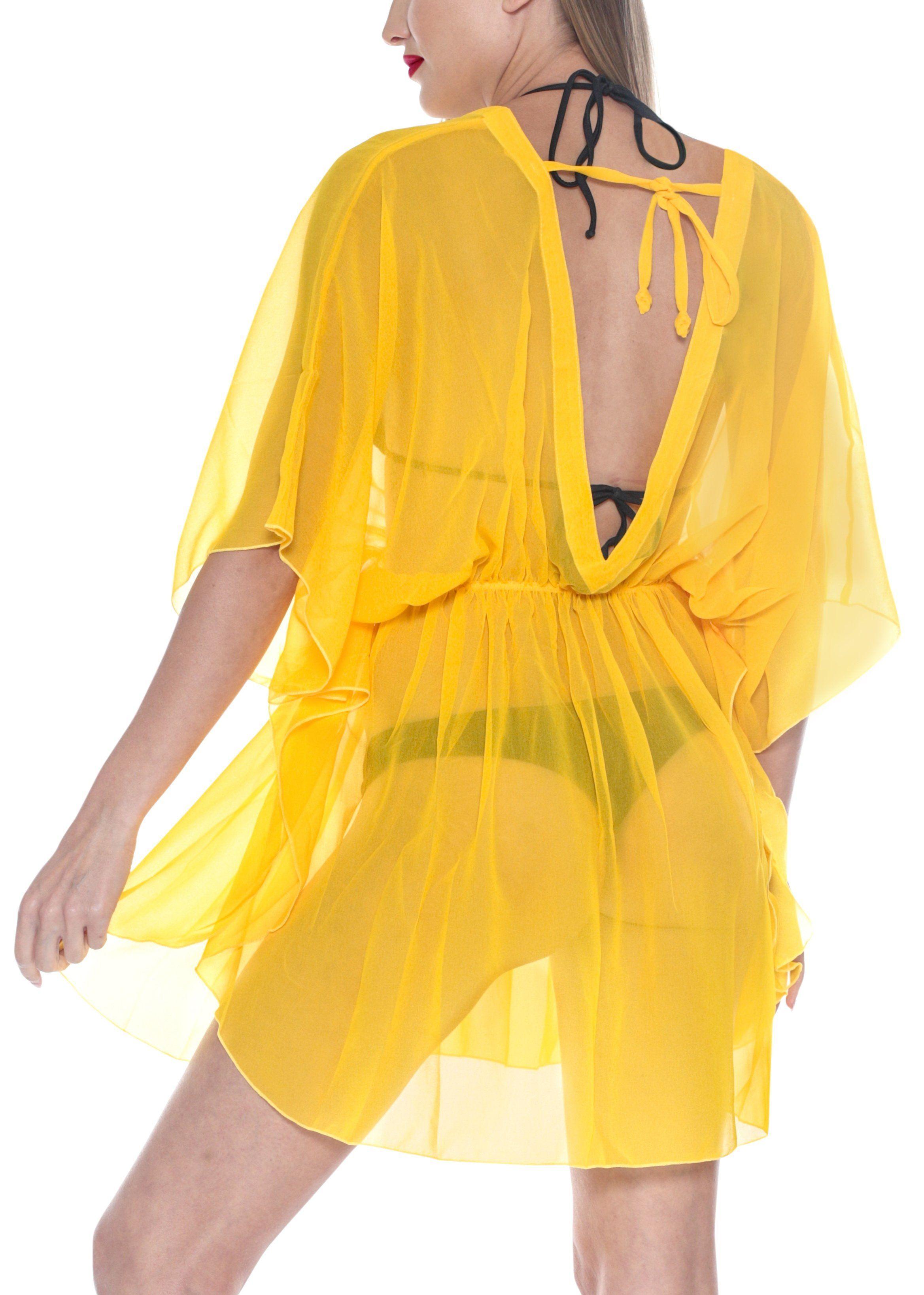 e5c79d7b04d37 LA LEELA Bikni Swimwear Chiffon Solid Blouse Cover Ups Women OSFM 8-16W [M-  1X] Yellow_843