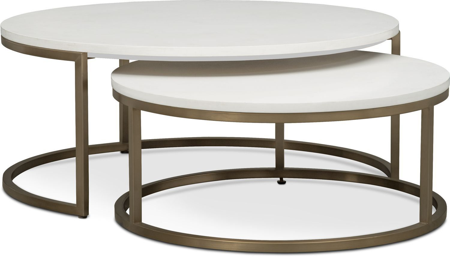 Accent And Occasional Furniture   Tableau 2 Piece Nesting Cocktail Tables    Brass And Quartz