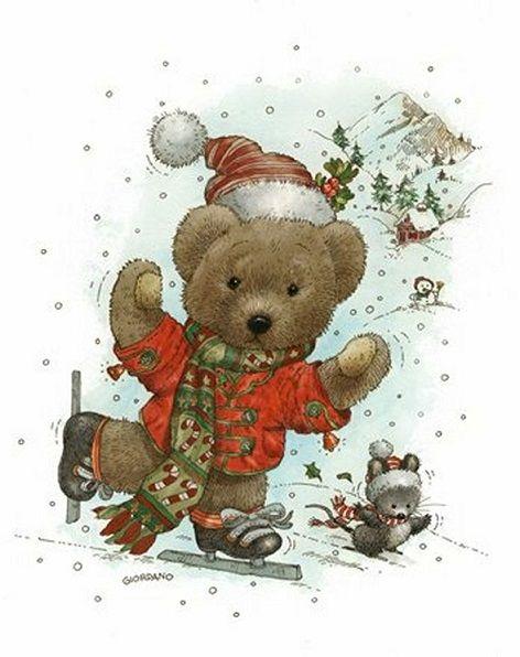 Винтажные открытки с рождеством с мишками, морозко картинки раскраски