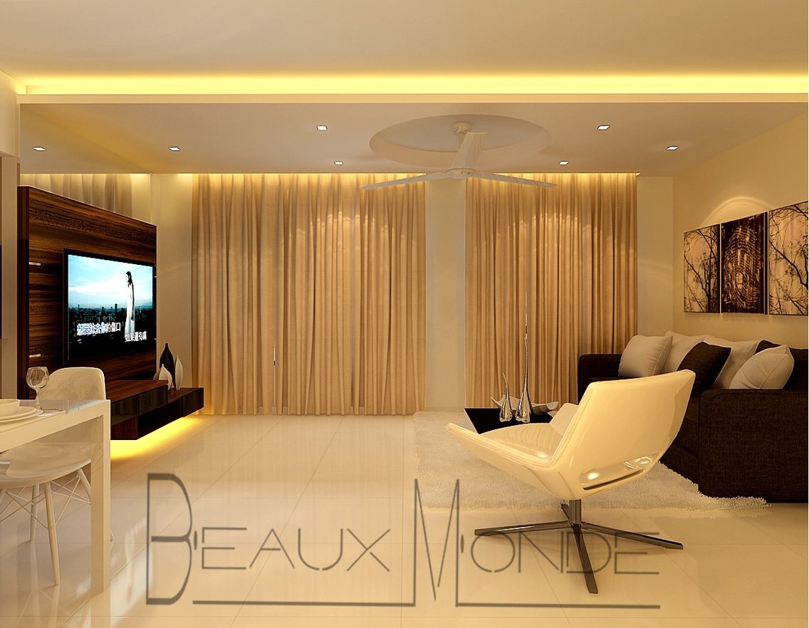 Interior Design Feature Walls Living Room Living Room With Customized Tv Feature Wall And False Ceiling With