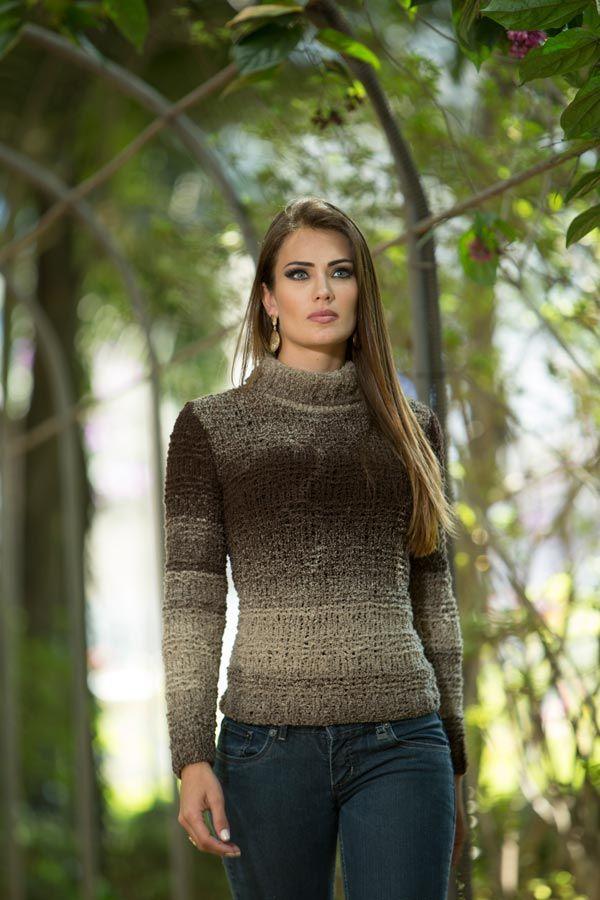 Resultado de imagem para lã cisne trico receitas. Blusa Marrom – Fio Cisne  Dual – Blog do Bazar Horizonte – Maior Armarinho Virtual do Brasil b3ff4c72a70