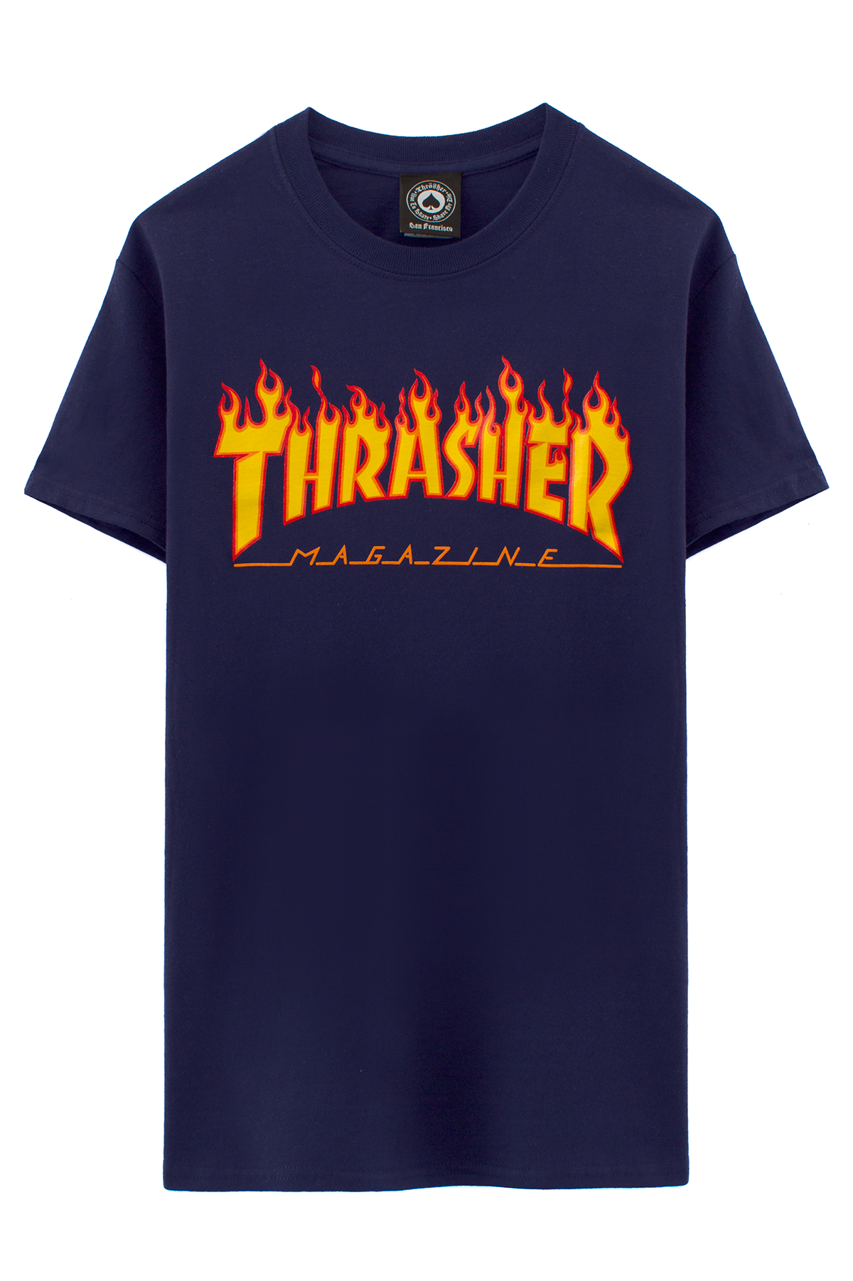 6e5682382952 THRASHER NAVY FLAME LOGO T-SHIRT Navy blue T-shirt with Thrasher flame logo  graphic on chest. 100% cotton. THRASHER Thrasher