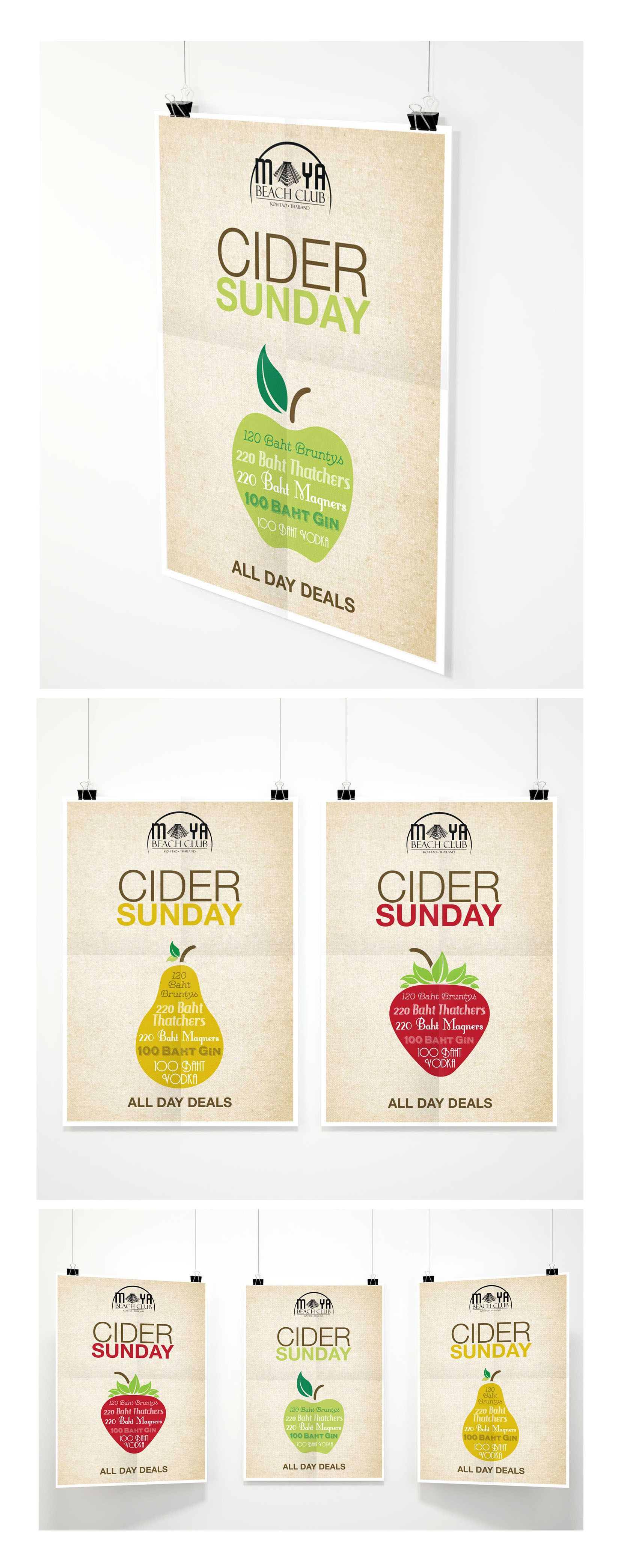 Cider Sunday set of posters were created for a beach bar in south east Asia to promote their Sunday afternoon drinking