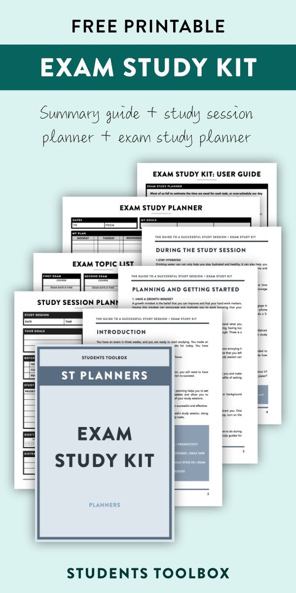 Exam Study Planner Printable Kit for Students | Study planner ...