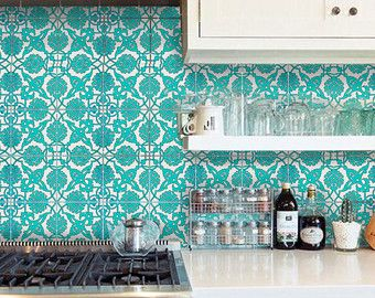 Indian Jaipur Blue Pottery Style Tile Wall Decal 4 By Bleucoin