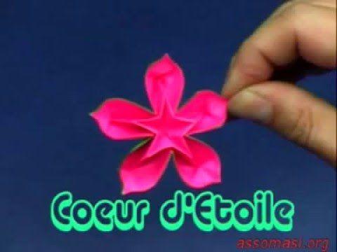 Origami Fleur Coeur D Etoile Youtube Fleurs En Origami Fleurs Coeur Origami Fleur
