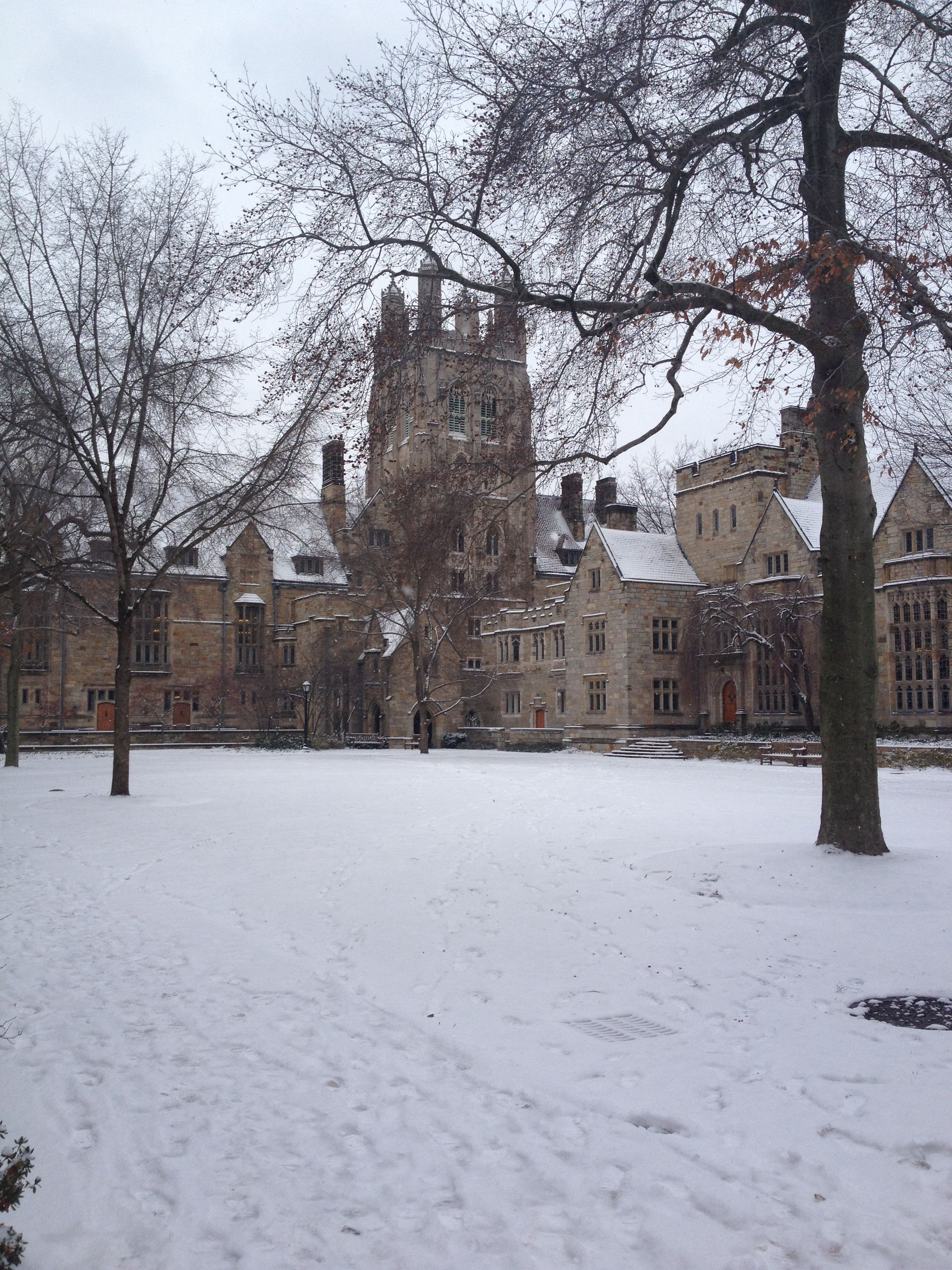 Yale in the snow