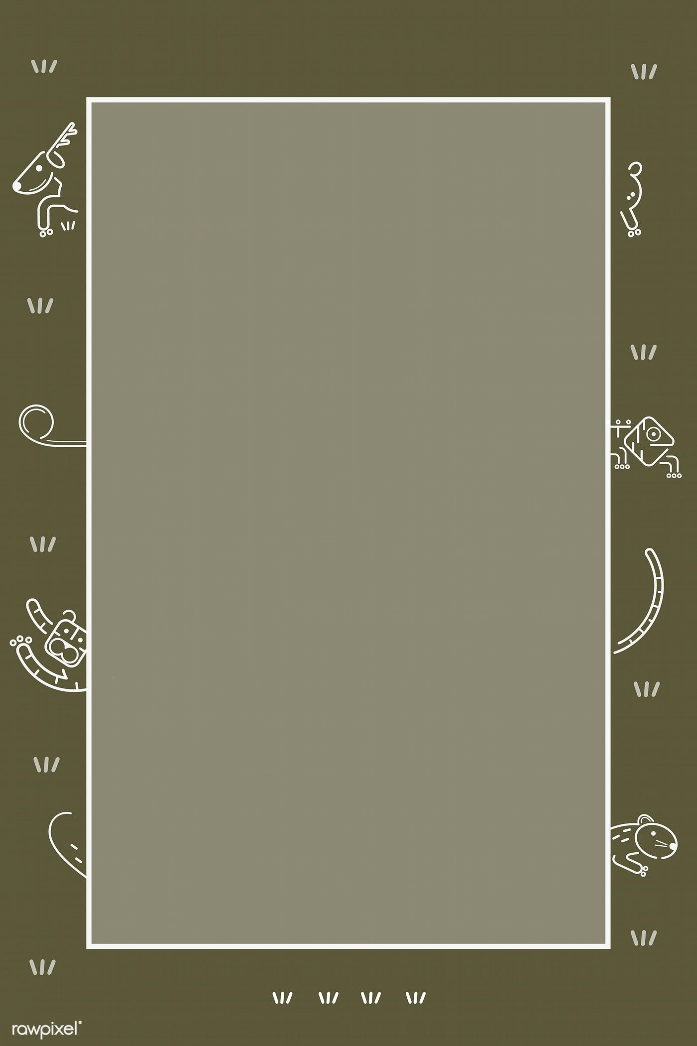 Animals Pattern On A Green Card Template Vector Free Image By Rawpixel Com Kenbaolocpro Instagram Frame Template Stock Images Free Vector Free