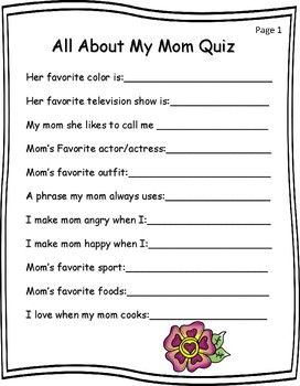 Mother S Day Writing Activities Mother Of The Year Writing Activities Mom Quiz Writing