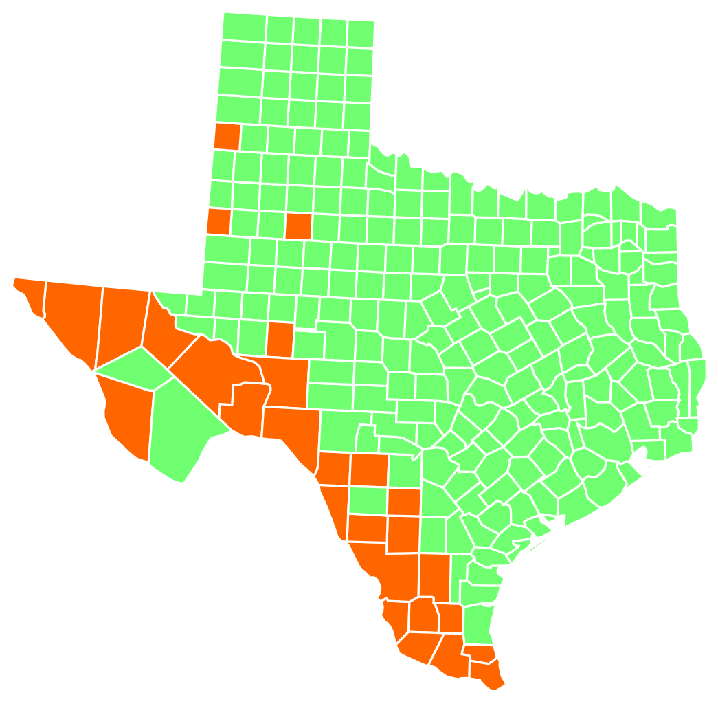 Most spoken language in Texas by county in 2016 (green
