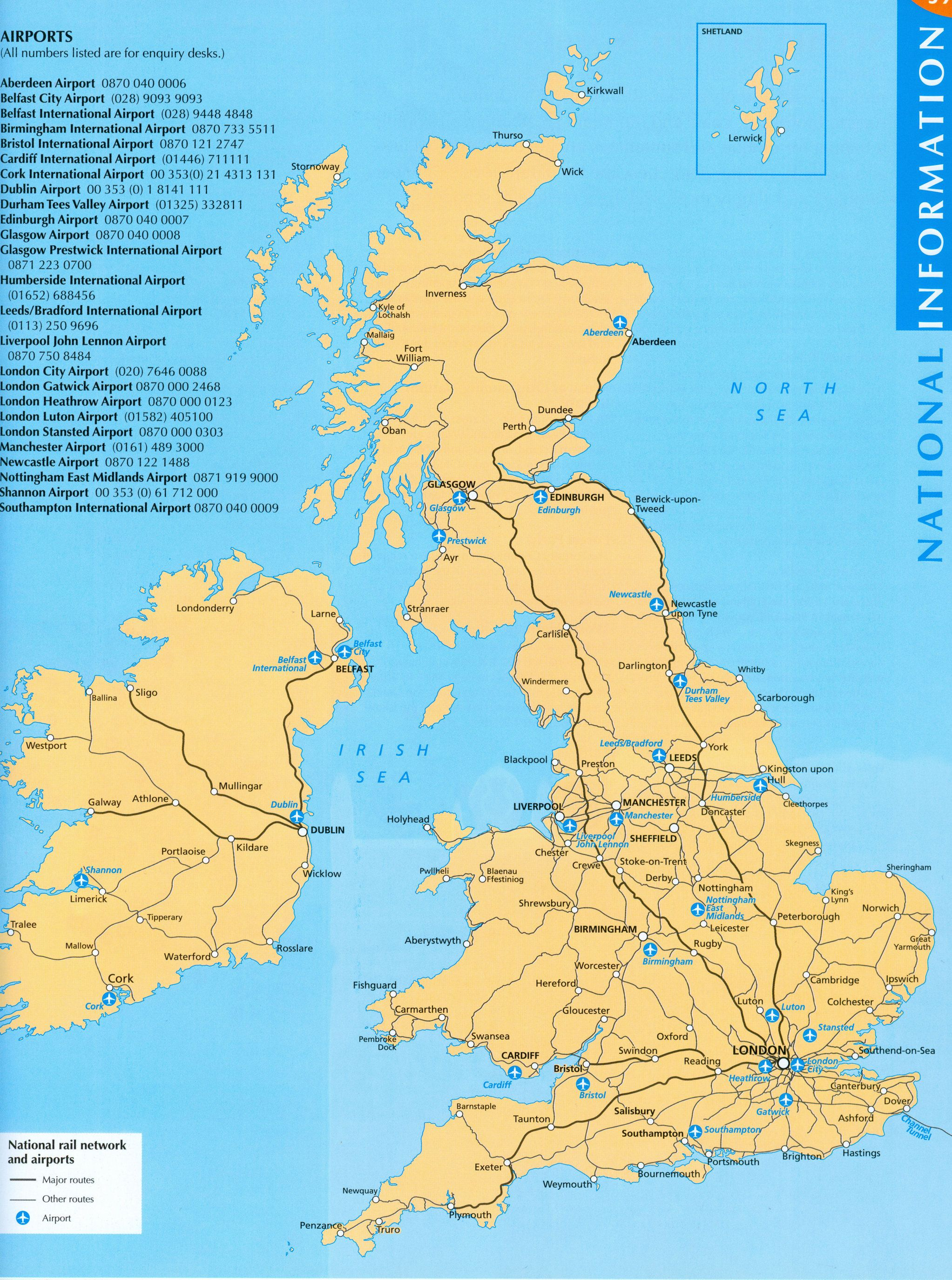 Map of the British Isles showing all major airports. | Lernen | Map ...