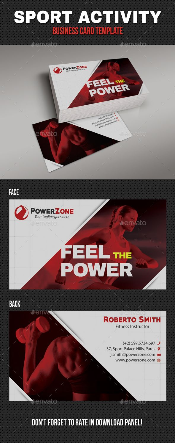 Sport Activity Business Card 06 Business Cards Print Templates Business Cards Business Card Template Design Free Business Card Templates