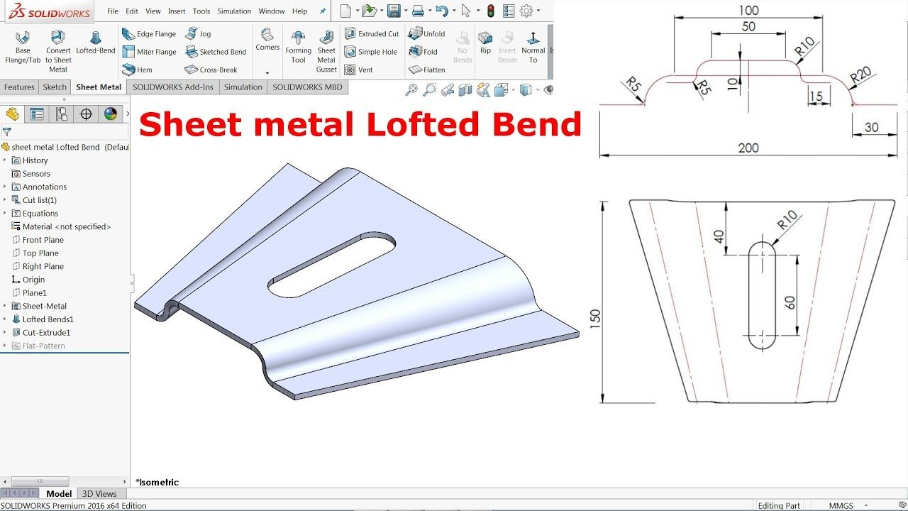 Solidworks Sheet Metal Lofted Bend Youtube Sheet Metal