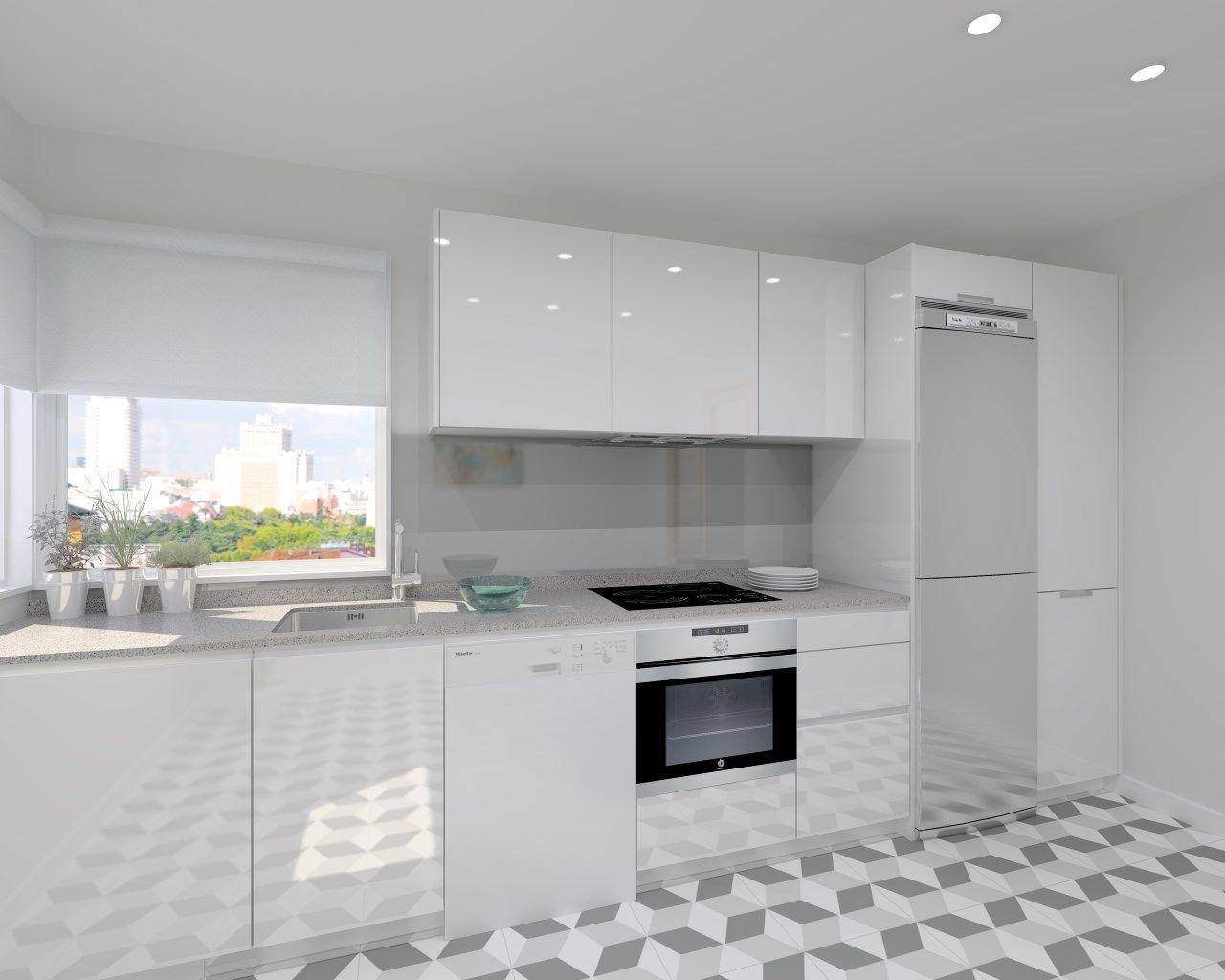 Cocina santos modelo line laminado blanco brillo encimera for Silestone gris marengo