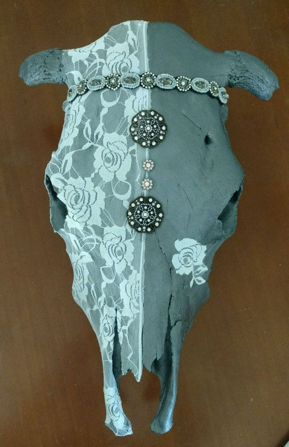 Check out this item in my Etsy shop https://www.etsy.com/listing/472833068/cow-skull-real-painted-lace-embellished