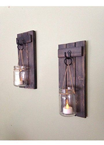 Wooden Wall Sconce Mason Jar Wall Sconce Rustic Wall Sconce Candle Holder Rustic Wooden With Images Wooden Candle Holders Rustic Wall Sconces Mason Jar Candle Holders