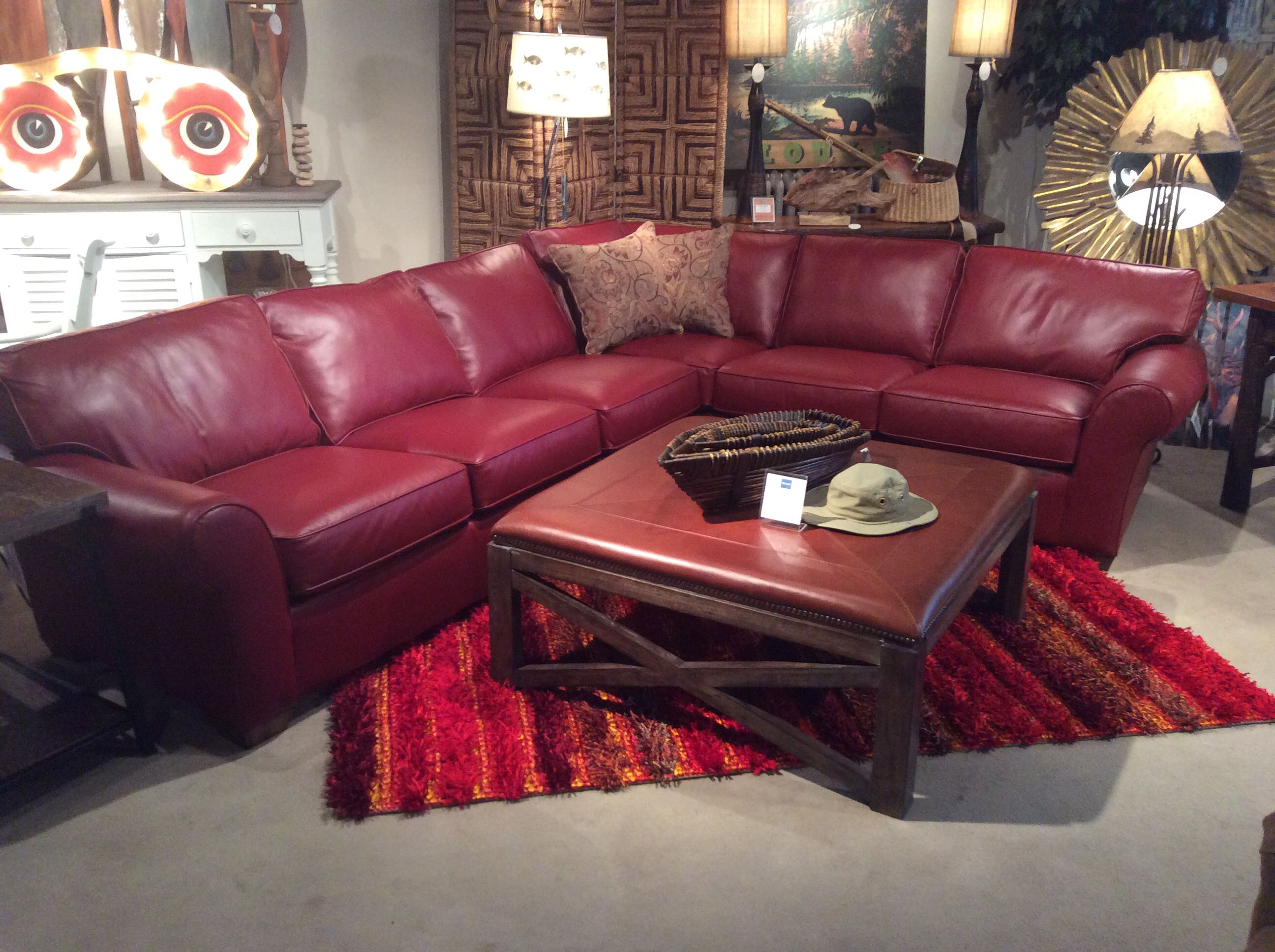 Flexsteel Red Leather Sectional