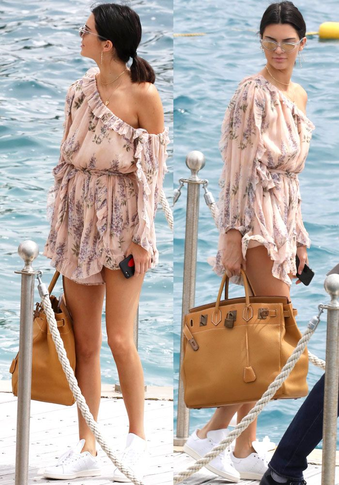 3a5100f3b82 Kendall paraded around the dock in her floral Zimmermann romper. Find this  Pin and more on Kendall Jenner s ...