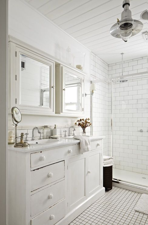 white cottage bathroom with side by side white mirrored medicine rh pinterest com cottage medicine cabinet surface mount cottage medicine cabinets with mirrors