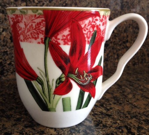 222 Fifth Holiday Decoupage Fine Porcelain Coffee Mug Cup