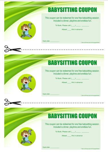 Collection of eyecatching Free Printable Babysitting Coupon Book