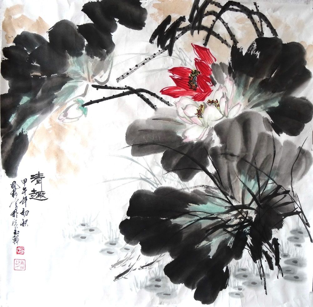 Hand painting artwork chinese art original lotus flower painting 28100 hand painting artwork chinese art original lotus flower painting izmirmasajfo