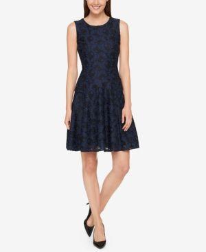 22f94d3e62d Tommy Hilfiger Lace Fit & Flare Dress - Blue 18 | Products | Dresses ...