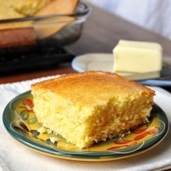"""Cornbread - Really good, fast and easy cornbread. Made with some honey cinnamon butter and it was divine!---- MY HUBBY HAD A TERRIBLE DAY...HE BEGAN EATING & THRU ALL HIS DEBRIEFING HE ACTUALLY STOPPED AND HELD THIS UP AND SAID """"I LOVE THIS BREAD""""!!! I ADDED A CAN OF NO-SALT CORN. LUV PINTEREST!!!"""