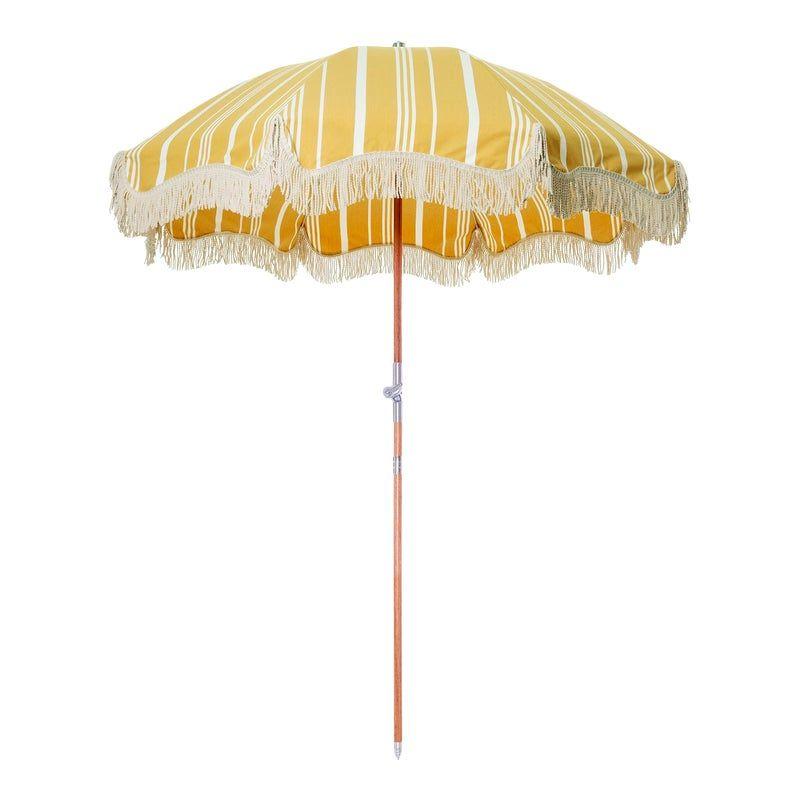 Premium Beach Umbrella Vintage Yellow Stripe With Fringe In 2020 Beach Umbrella Umbrella Vintage Yellow
