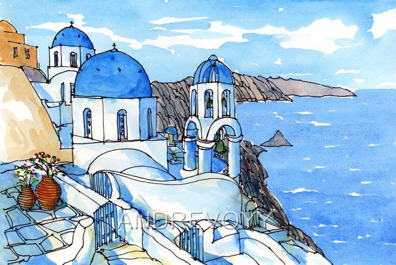 Santorini Oia 3 Greece Art Print From An Original Watercolor