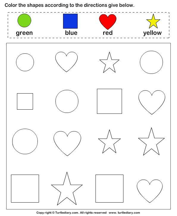 Identify Shapes And Color Them Kartu Flash Kegiatan Untuk Anak Buku Mewarnai Identify shapes worksheet kindergarten