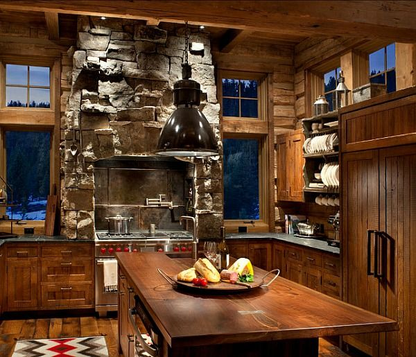 Cabin Kitchen Cabinets: A Family Lodge In The Montana Mountains