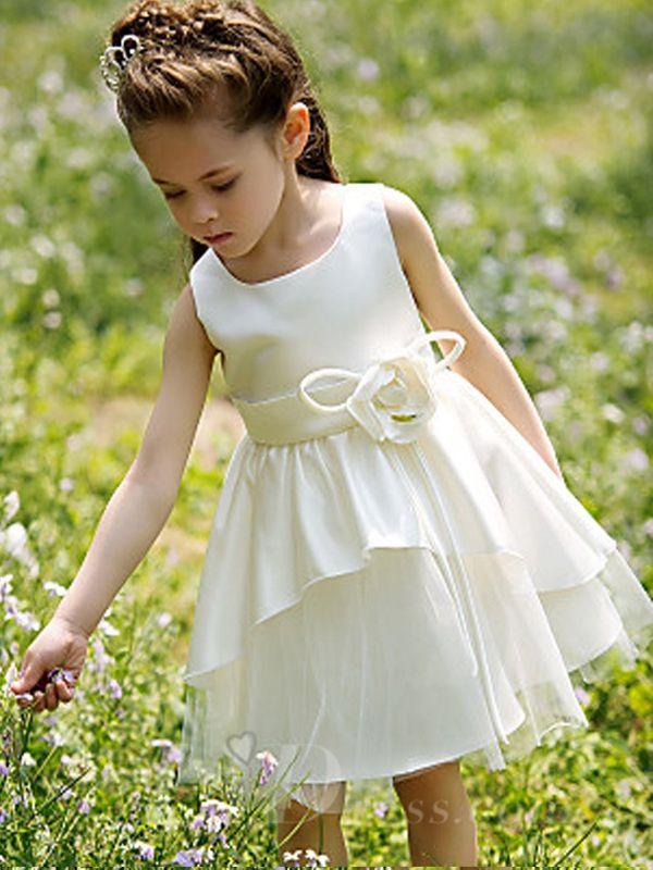 77b9514ef Girls White Performance Dress Flower Girls Skirt